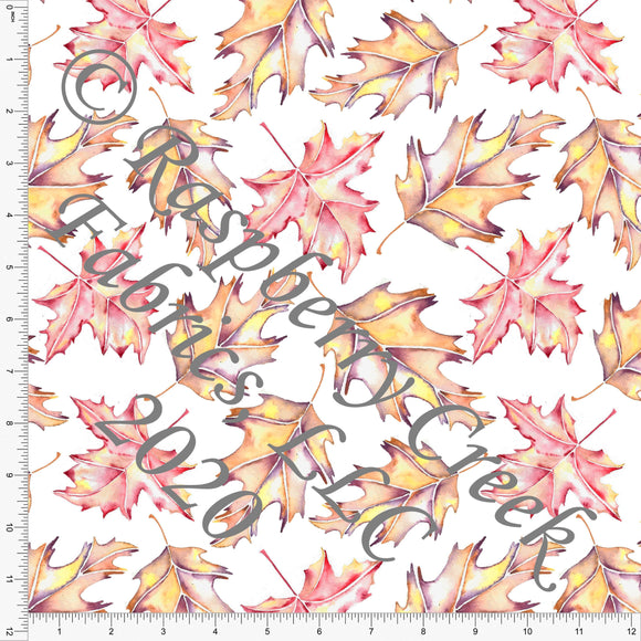 Rust Red Mustard and Eggplant Fall Leaves, Fall Foliage By Elise Peterson for Club Fabrics - Raspberry Creek Fabrics