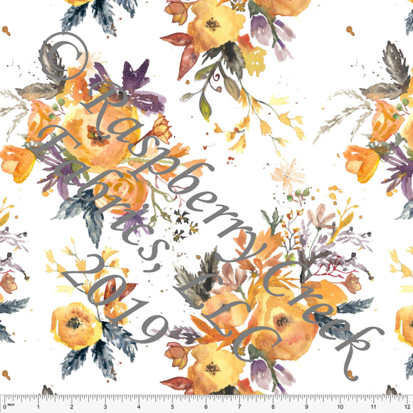 Orange Mustard Eggplant and Rust Fall Floral by Elise Peterson for Club Fabrics - Raspberry Creek Fabrics