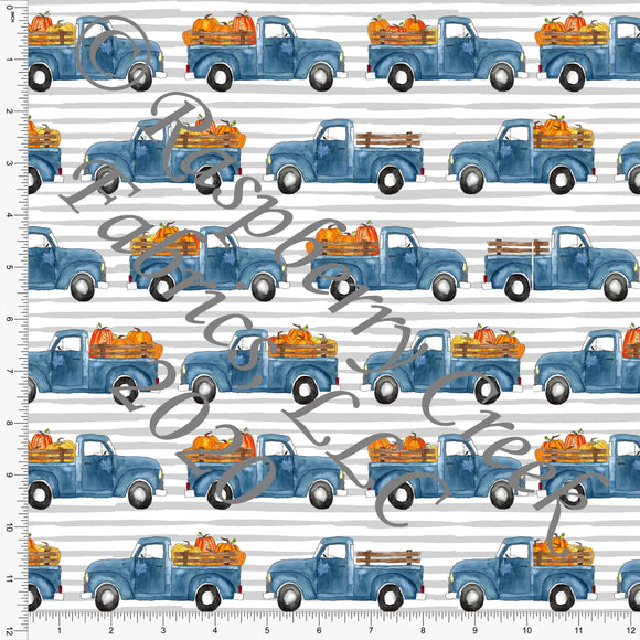 Indigo Blue Orange and Black Fall Pumpkin Trucks on Grey Stripes, Fall Into Halloween By Brittney Laidlaw for Club Fabrics - Raspberry Creek Fabrics