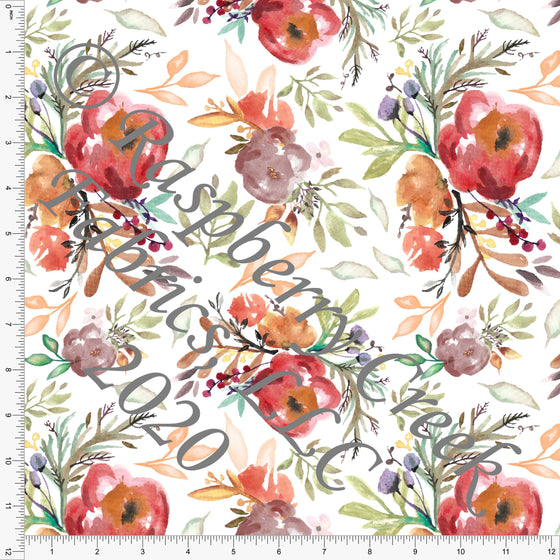 Red Rust Orange Teal and Mauve Fall Watercolor Floral, Fall Foliage By Elise Peterson for Club Fabrics - Raspberry Creek Fabrics