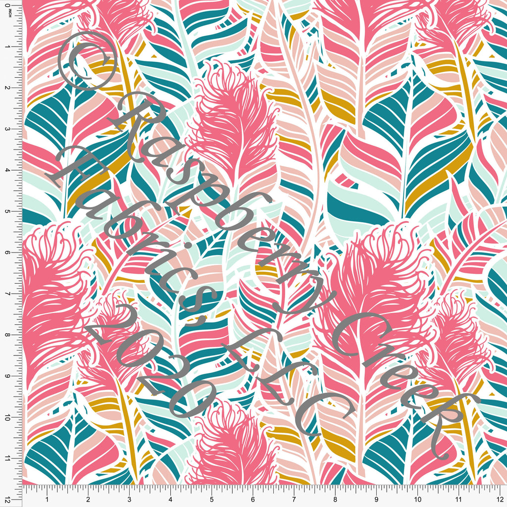 Pink Mint Mustard and Bright Teal Feathers Print Double Brushed Poly Knit Fabric, Flamingo Fun by Tonya Knowlden for CLUB Fabrics - Raspberry Creek Fabrics