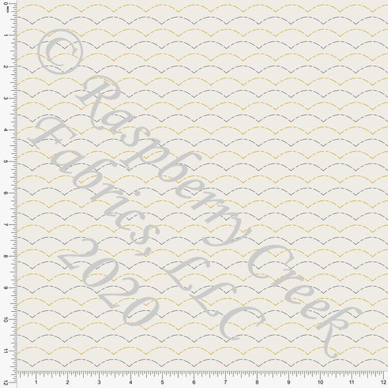 Cream Grey and Mustard Fish Scale Print Double Brushed Poly Knit Fabric, By The Pond By Lisa Mabey for CLUB Fabrics - Raspberry Creek Fabrics