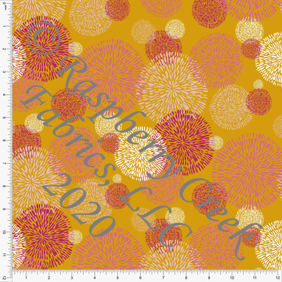 Mustard and Tonal Pink Flamingo Fluff Print Double Brushed Poly Knit Fabric, Flamingo Fun by Tonya Knowlden for CLUB Fabrics - Raspberry Creek Fabrics