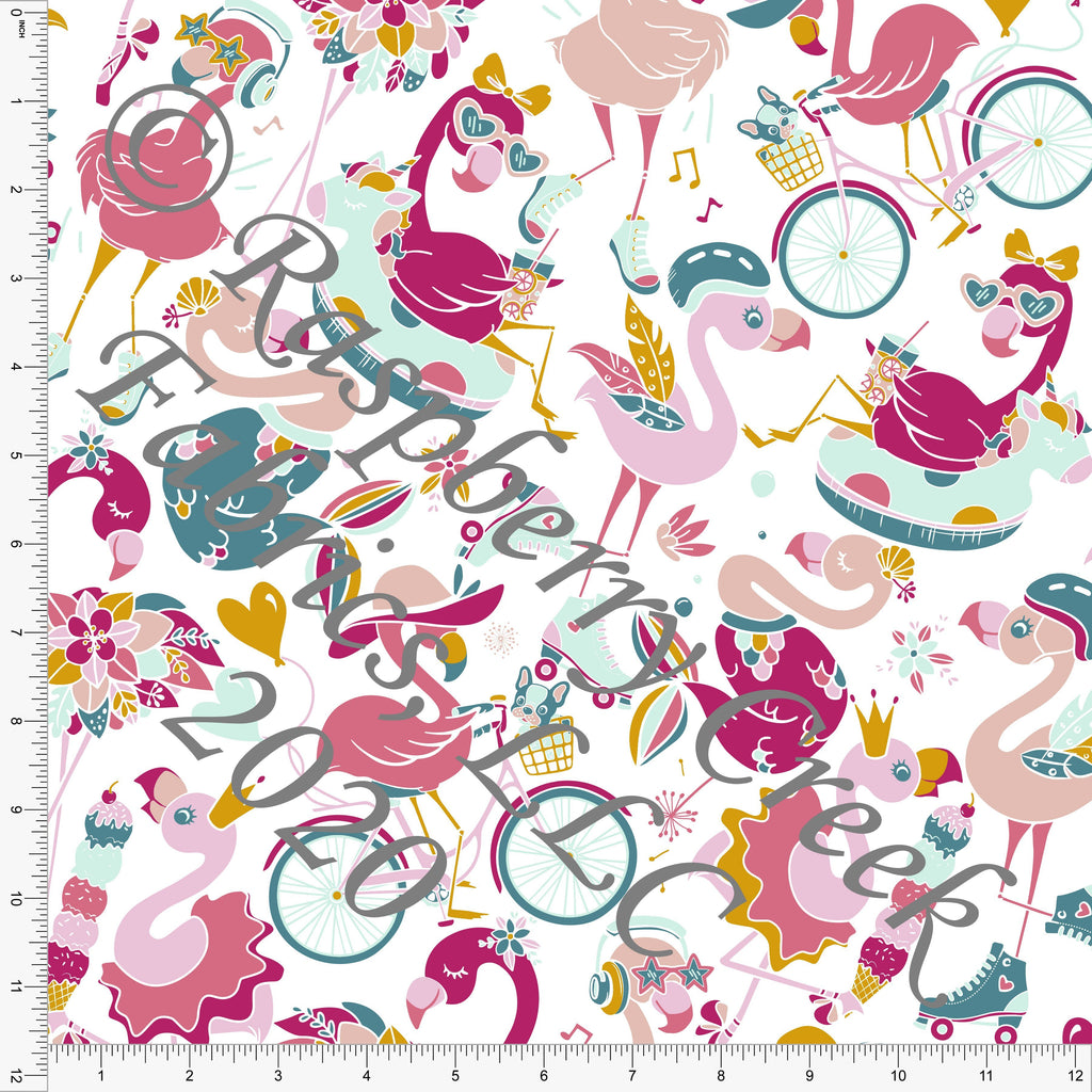 Tonal Pink Bright Teal and Mustard Funny Flamingos Print Double Brushed Poly Knit Fabric, Flamingo Fun by Tonya Knowlden for CLUB Fabrics - Raspberry Creek Fabrics