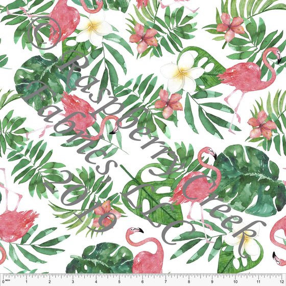 Pink Green Yellow and White Palm Leaf Flamingo 4 Way Stretch Jersey Knit, CLUB Fabrics - Raspberry Creek Fabrics