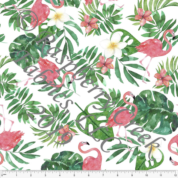 Pink Green Yellow and White Palm Leaf Flamingo 4 Way Stretch Jersey Knit, CLUB Fabrics