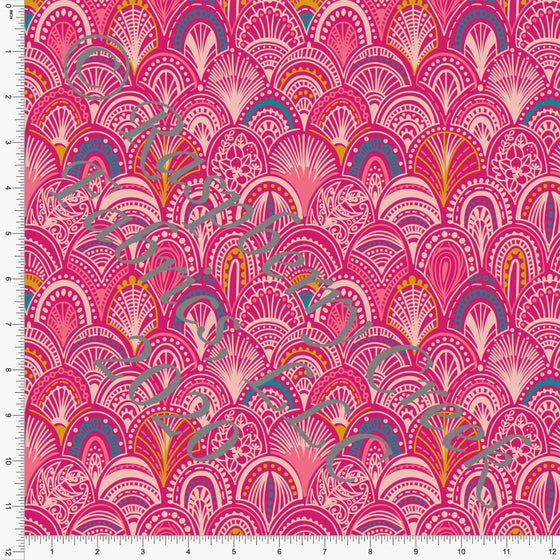 Tonal Pink Bright Teal and Mustard Geometric Scallop Print Double Brushed Poly Knit Fabric, Flamingo Fun by Tonya Knowlden for CLUB Fabrics - Raspberry Creek Fabrics