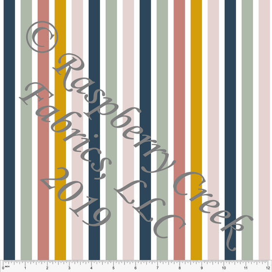 Mustard Sage Blush and Denim Blue Fleur Vertical Stripes By Kimberly Henrie for CLUB Fabrics - Raspberry Creek Fabrics