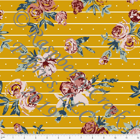 Mustard Sage Denim Blue Blush and Burgundy Fleur Stripe Dot Floral By Kimberly Henrie for CLUB Fabrics - Raspberry Creek Fabrics