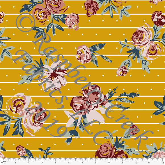 Mustard Sage Denim Blue Blush and Burgundy Fleur Stripe Dot Floral By Kimberly Henrie for CLUB Fabrics