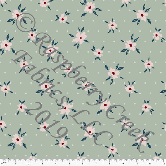 Sage Blush and Denim Blue Fleur Dot Floral 4 Way Stretch Double Brushed Poly, By Kimberly Henrie for CLUB Fabrics - Raspberry Creek Fabrics