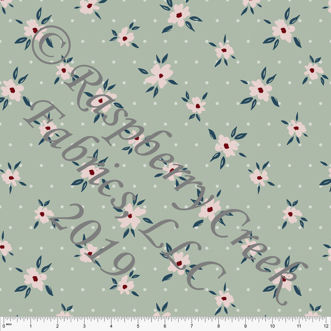 Sage Blush and Denim Blue Fleur Dot Floral By Kimberly Henrie for CLUB Fabrics - Raspberry Creek Fabrics