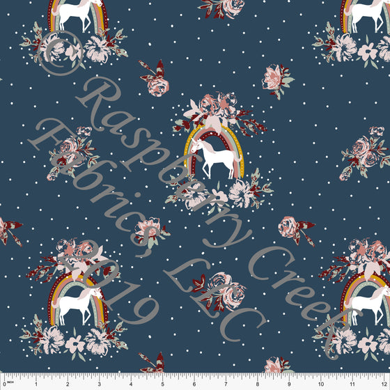 Denim Blue Sage Blush Mustard and Burgundy Fleur Rainbow Unicorn Floral 4 Way Stretch Double Brushed Poly, By Kimberly Henrie for CLUB Fabrics - Raspberry Creek Fabrics