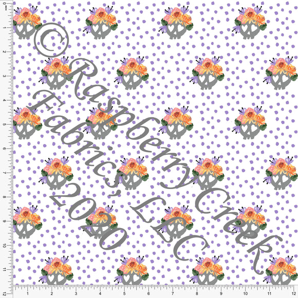 Lilac Orange Yellow Coral and Grey Floral Crown Skulls, Spooky Cute By Bri Powell for Club Fabrics - Raspberry Creek Fabrics