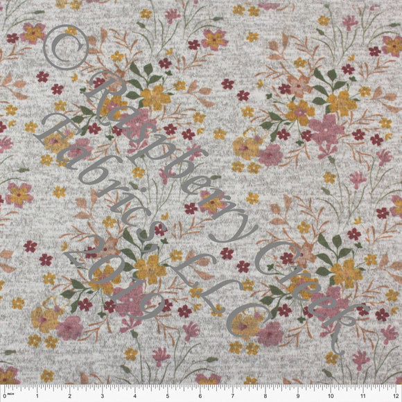 Mustard Mauve Olive and Burgundy Floral Brushed Heathered Hacci Sweater Knit Fabric, CLUB Fabrics Hacci, 1 Yard - Raspberry Creek Fabrics