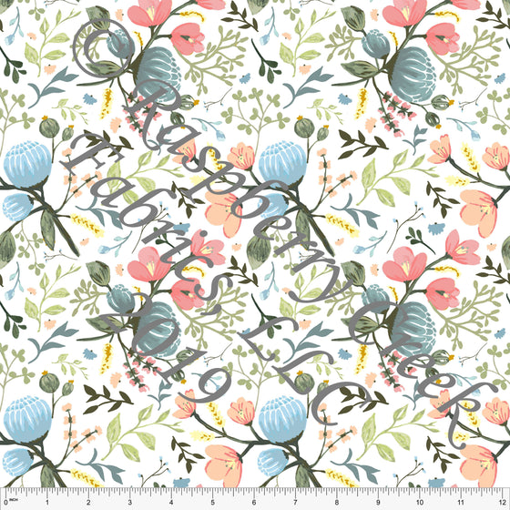 Peach Salmon Sage Yellow and Light Blue Summer Floral 4 Way Stretch Jersey Knit Fabric, By Elise Peterson for Club Fabrics