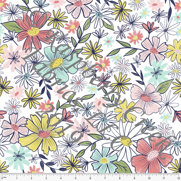 Mint Salmon Coral Green and Yellow Floral 4 Way Stretch Jersey Knit Fabric, Spring Garden by Emily Ferguson for Club Fabrics
