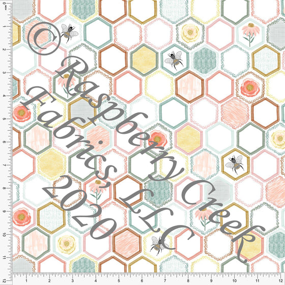 Tonal Coral Dusty Pink Sage Yellow and Gold Floral Honeycomb Hexagons, Save The Bees by Kelsey Shaw for Club Fabrics - Raspberry Creek Fabrics
