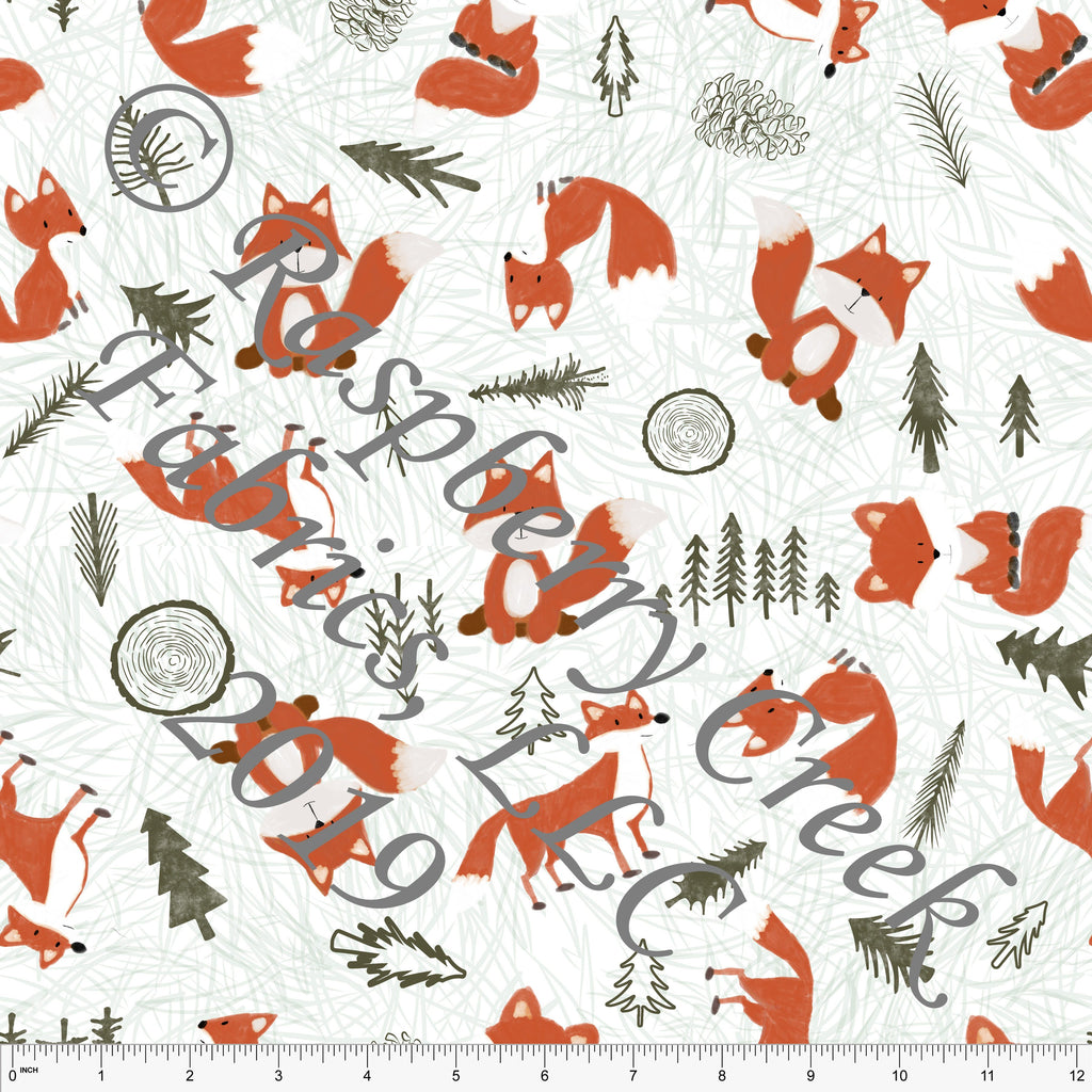 Orange Rust Olive and Brown Trees and Foxes By Courtney Graziano For Club Fabrics - Raspberry Creek Fabrics