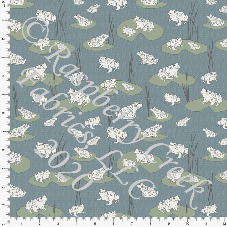 Dusty Blue Sage Grey and Cream Lily Pad Frog Print Double Brushed Poly Knit Fabric, By The Pond By Lisa Mabey for CLUB Fabrics - Raspberry Creek Fabrics