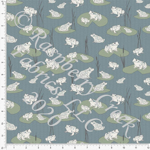 Dusty Blue Sage Grey and Cream Lily Pad Frog Print Double Brushed Poly Knit Fabric, By The Pond By Lisa Mabey for CLUB Fabrics - Raspberry Creek Fabrics Knit Fabric