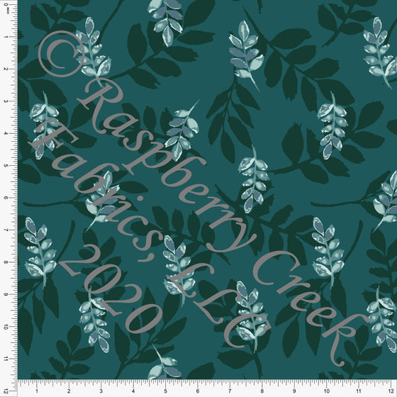 Tonal Deep Teal Fronds Print Double Brushed Poly Knit Fabric, Garden Florals By Lisa Mabey for CLUB Fabrics - Raspberry Creek Fabrics