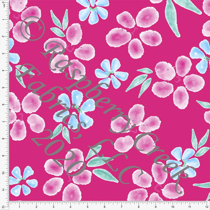 Fuchsia Light Blue and Light Teal Tropical Floral Print 4 Way Stretch MATTE SWIM Knit Fabric, By Elise Peterson for Club Fabrics - Raspberry Creek Fabrics Knit Fabric