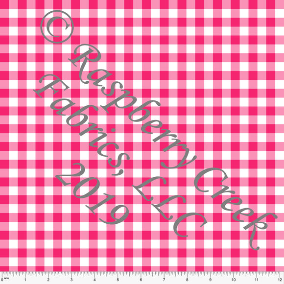 Fuchsia Pink and White Check Gingham Sueded Microfiber Woven Board Short Fabric, CLUB Fabrics - Raspberry Creek Fabrics