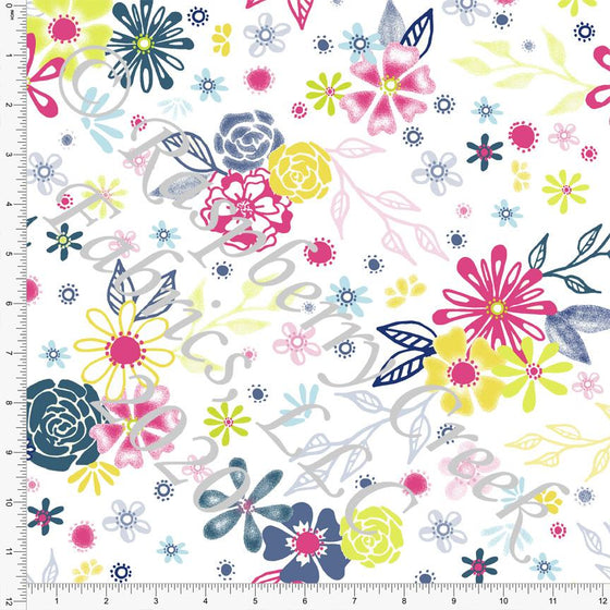 Neon Green Fuchsia Deep Teal and Yellow Floral Print Double Brushed Poly Knit Fabric, By Elise Peterson for CLUB Fabrics Raspberry Creek Fabrics