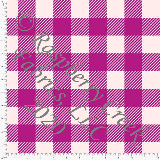 Bright Fuchsia and Light Pink Buffalo Check Gingham Print Double Brushed Poly Knit Fabric, Abundant by Kimberly Henrie for CLUB Fabrics - Raspberry Creek Fabrics