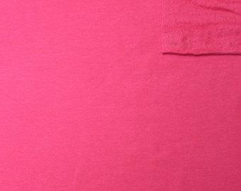 Solid Fuchsia Pink 4 Way Stretch French Terry Knit Fabric With Spandex, 1 Yard
