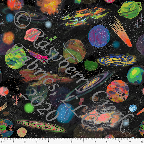Neon Green Blue Purple Orange and Black Planet Galaxy Print Double Brushed Poly Knit Fabric, By Elise Peterson for CLUB Fabrics - Raspberry Creek Fabrics