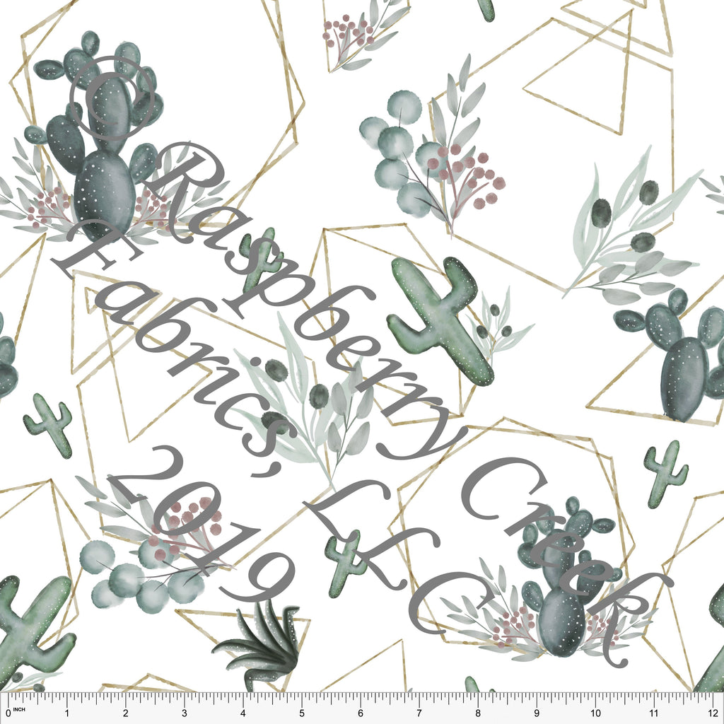 Forest Green Mauve Grey and Gold Geometric Cactus, By Kelsey Shaw For Club Fabrics - Raspberry Creek Fabrics