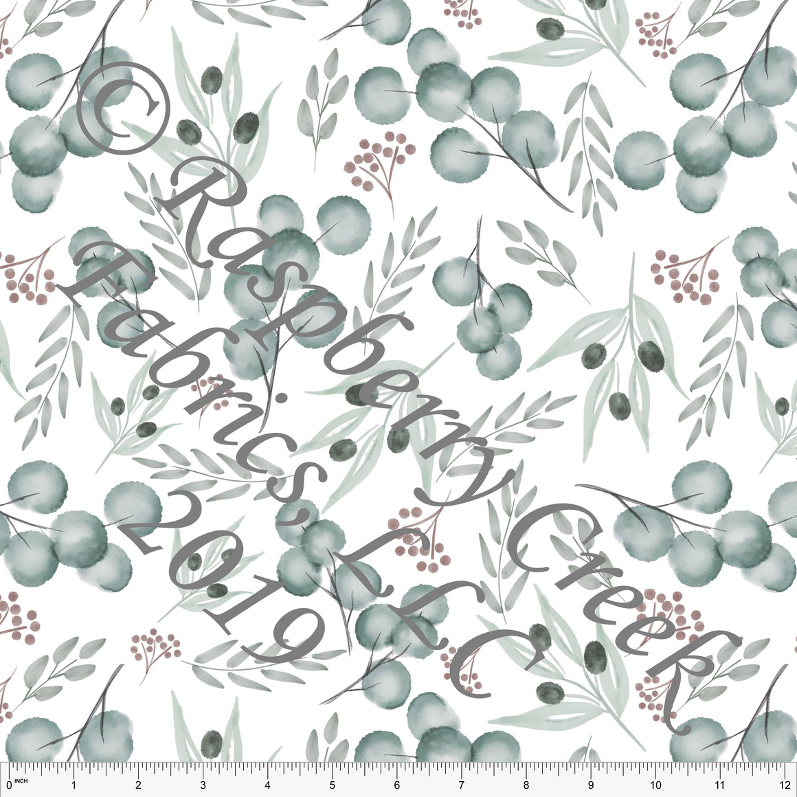 Forest Green Mauve and Grey Eucalyptus, By Kelsey Shaw For Club Fabrics - Raspberry Creek Fabrics
