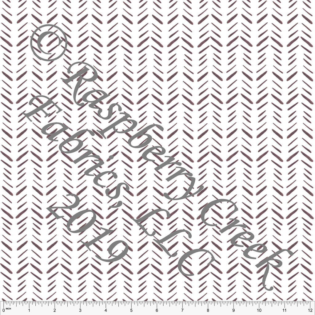 Burgundy and White Geometric Herringbone, By Kelsey Shaw For Club Fabrics - Raspberry Creek Fabrics
