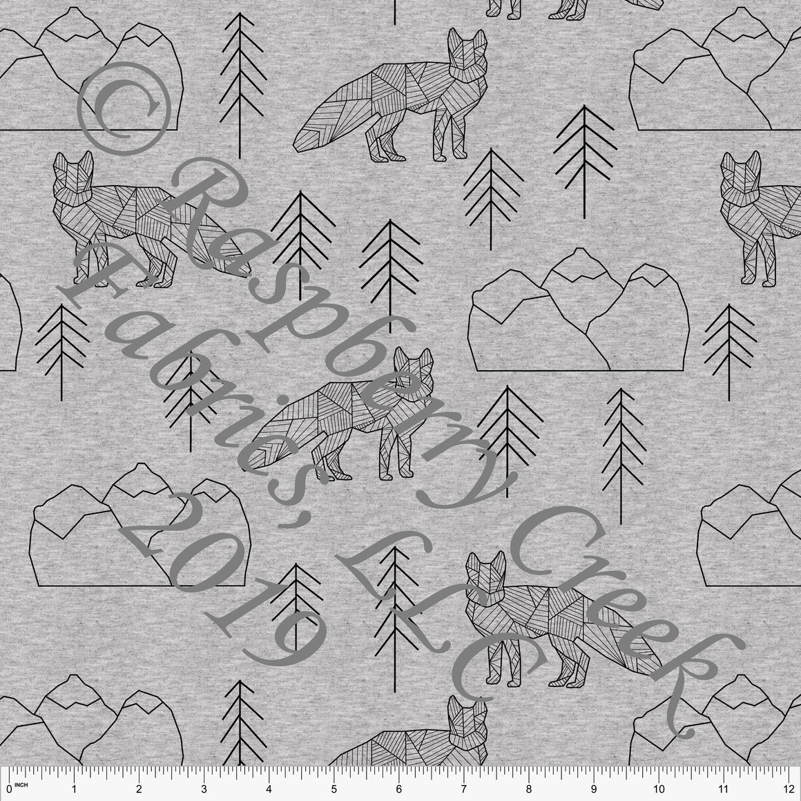 Black on Heathered Grey Geometric Fox By Brittney Laidlaw for Club Fabrics - Raspberry Creek Fabrics