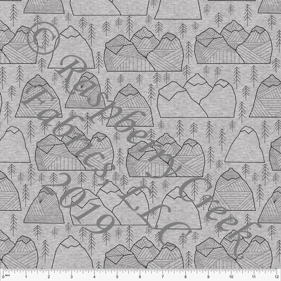 Black on Heathered Grey Geometric Mountains By Brittney Laidlaw for Club Fabrics - Raspberry Creek Fabrics