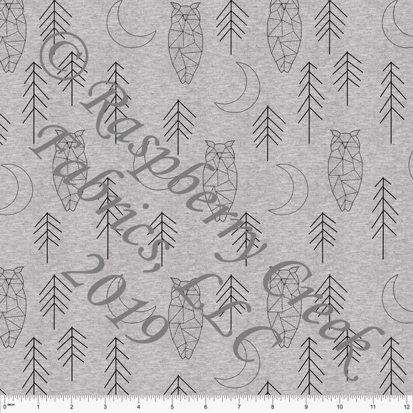 Black on Heathered Grey Geometric Owls By Brittney Laidlaw for Club Fabrics - Raspberry Creek Fabrics