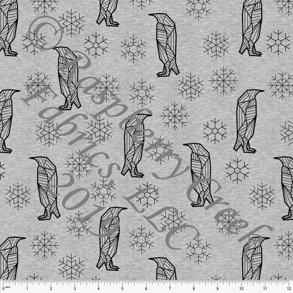 Black on Heathered Grey Geometric Penguins By Brittney Laidlaw for Club Fabrics - Raspberry Creek Fabrics