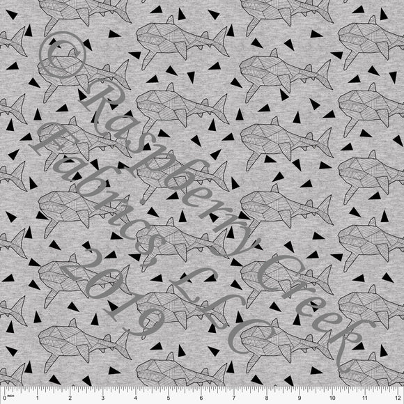 Black on Heathered Grey Geometric Sharks By Brittney Laidlaw for Club Fabrics - Raspberry Creek Fabrics