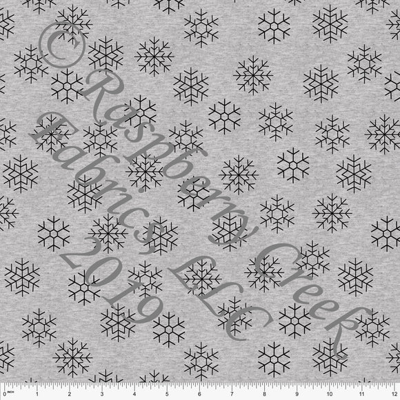 Black on Heathered Grey Geometric Snowflakes By Brittney Laidlaw for Club Fabrics - Raspberry Creek Fabrics