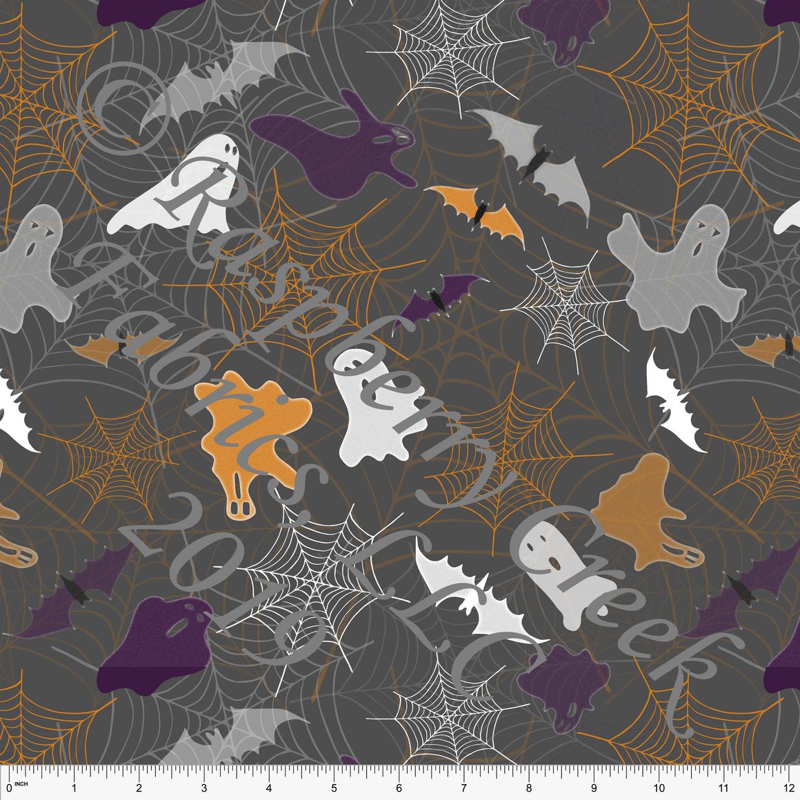 Charcoal Purple Orange White and Black Bats Spiderwebs and Ghosts 4 Way Stretch Double Brushed Poly Knit Fabric, By Elise Peterson for CLUB Fabrics - Raspberry Creek Fabrics