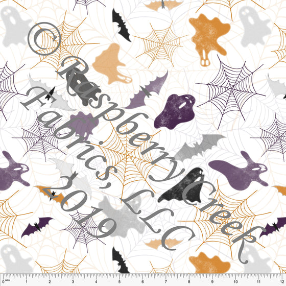 Purple Orange Black and Grey Bats Spiderwebs and Ghosts by Elise Peterson for Club Fabrics - Raspberry Creek Fabrics