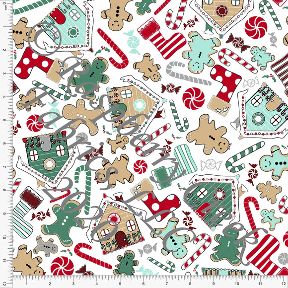 Dusty Green Red Grey and Tan Gingerbread Print, Gingerbread by Elise Peterson for Club Fabrics - Raspberry Creek Fabrics