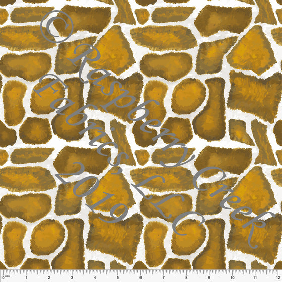 Mustard Brown and White Giraffe Print 4 Way Stretch Jersey Knit Fabric, African Animals by Elise Peterson for Club Fabrics