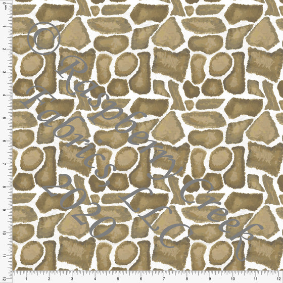 Tonal Cream Tan and Brown Giraffe Print Double Brushed Poly Knit Fabric, By Elise Peterson for CLUB Fabrics - Raspberry Creek Fabrics