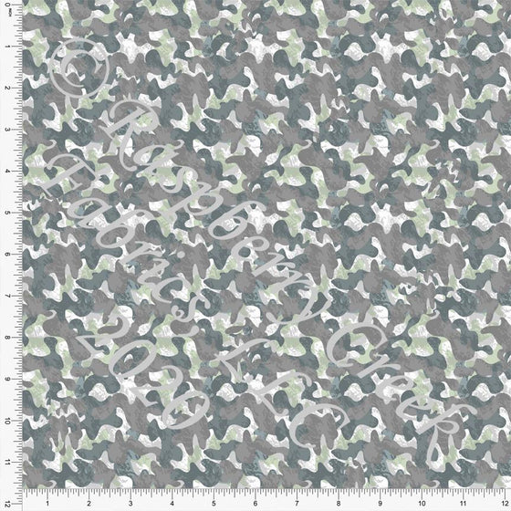 Tonal Grey Green and Brown Camouflage Print Double Brushed Poly Knit Fabric, Mythical by Elise Peterson for CLUB Fabrics - Raspberry Creek Fabrics