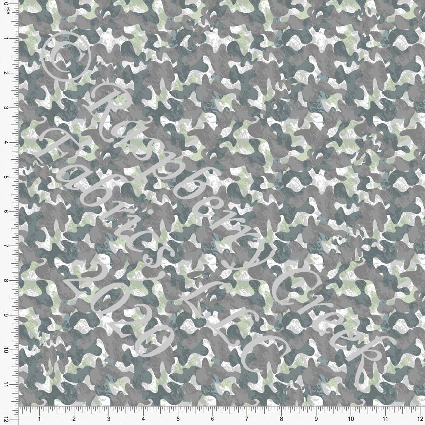 Tonal Grey Green and Brown Camouflage Print Double Brushed Poly Knit Fabric, Mythical by Elise Peterson for CLUB Fabrics Raspberry Creek Fabrics