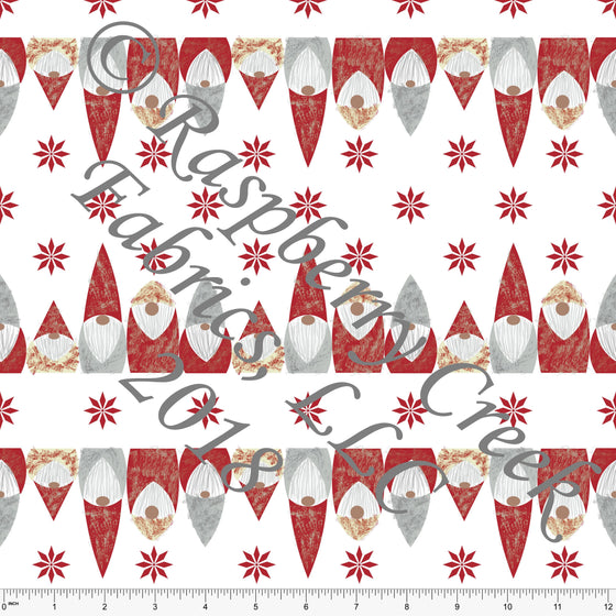 Red Grey and White Snowflake Gnome Stripe 4 Way Stretch Jersey Knit, By McKenzie Powell For CLUB Fabrics, 1 Yard