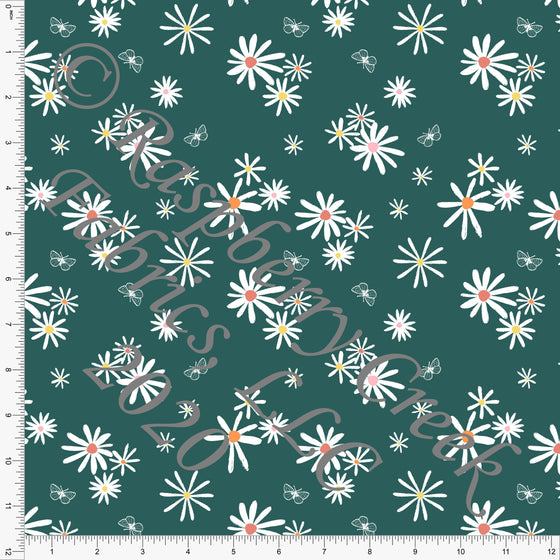 Green White Yellow Orange and Pink Daisy Butterfly Floral Print Double Brushed Poly Knit Fabric, By Kimberly Henrie for CLUB Fabrics - Raspberry Creek Fabrics